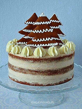 tort piernikowy, tort z kremem cynamonowym, tort semi naked,