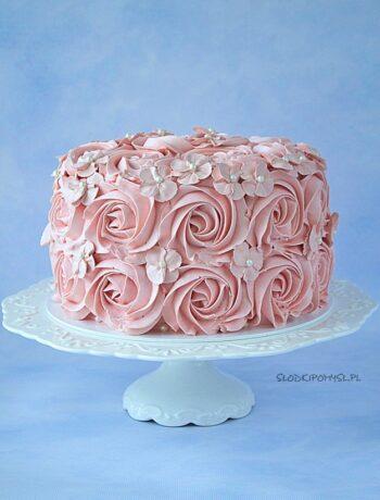 tort z michałkami, tort michałkowy, tort dwa michały, tort z różami, krem maślany na bezie szwajcarskiej