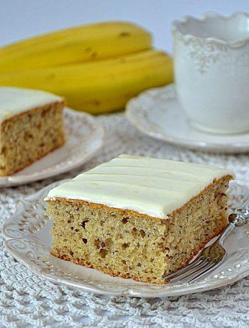 Proste ciasto z bananami, ciasto z bananami, szybie ciasto z bananami, polewa cytrynowa