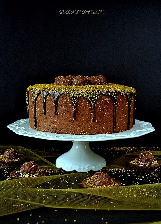 tort rocher, tort ferrero rocher, tort znutellą, tort zorzechami, ferrero rocher