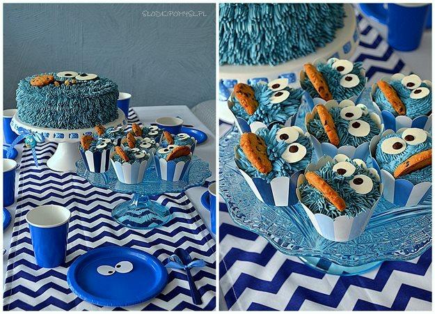 ciasteczkowy potwór - pierwsze urodziny Kacpra, urodziny z Ciasteczkowym Potwoerem, pierwsze urodziny, pomysł na urodziny, kinder party, urodziny dziecka,