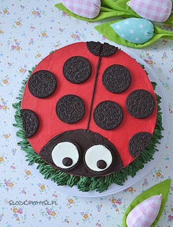 tort biedronka, tort czekoladowy, mus ananasowy, tort dla dzieci, red velvet cake,