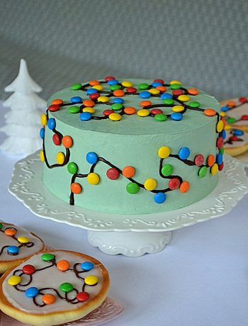 świąteczny tort z lampkami, tort szarlotka, tort z jabłkami, prażone jabłka, krem cynamonowy, ciasto piernikowe, mus jabłkowy, cukierki