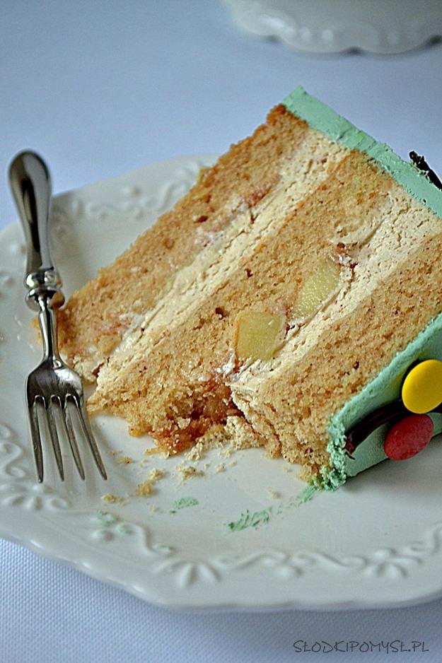świąteczny tort, tort szarlotka, tort z jabłkami, prażone jabłka, krem cynamonowy, ciasto piernikowe, mus jabłkowy, cukierki