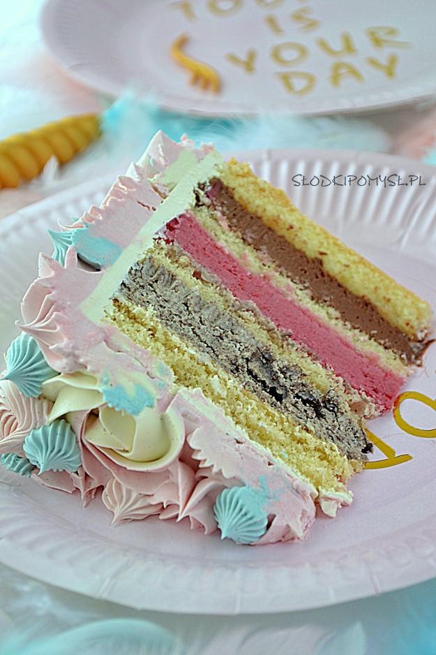 tort jednorożec, unicorn cake, tort dla dziecka, krem oreo, mus wiśniowy, krem truflowy