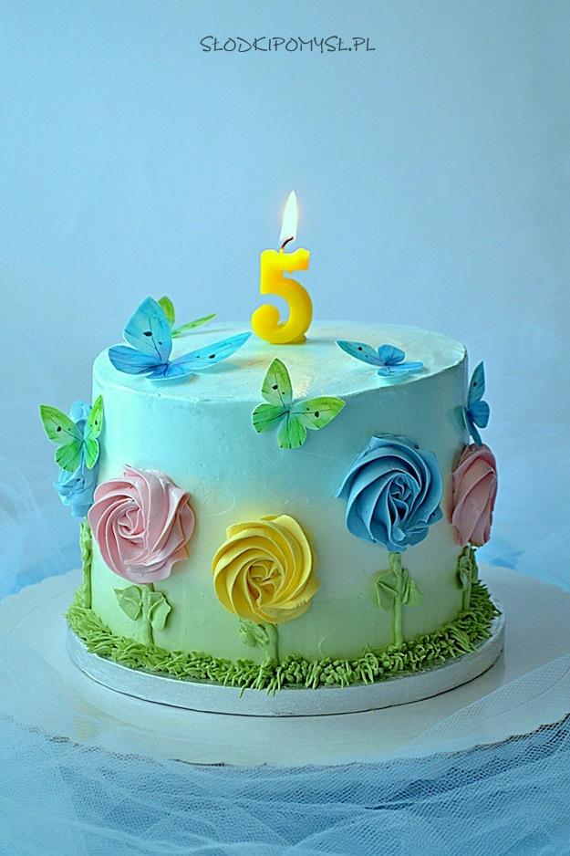 tort urodzinowy, tort dla dziewczynki, tort dla dziecka, tort z kwiatami, krem maślany z mascarpone, tort z motylkami,