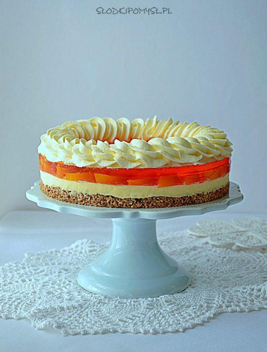 brzoskwiniowiec, ciasto z brzoskwiniami, ciasto z galaretką i brzoskwiniami, krem brzoskwiniowy, masa brzoskwiniowa,