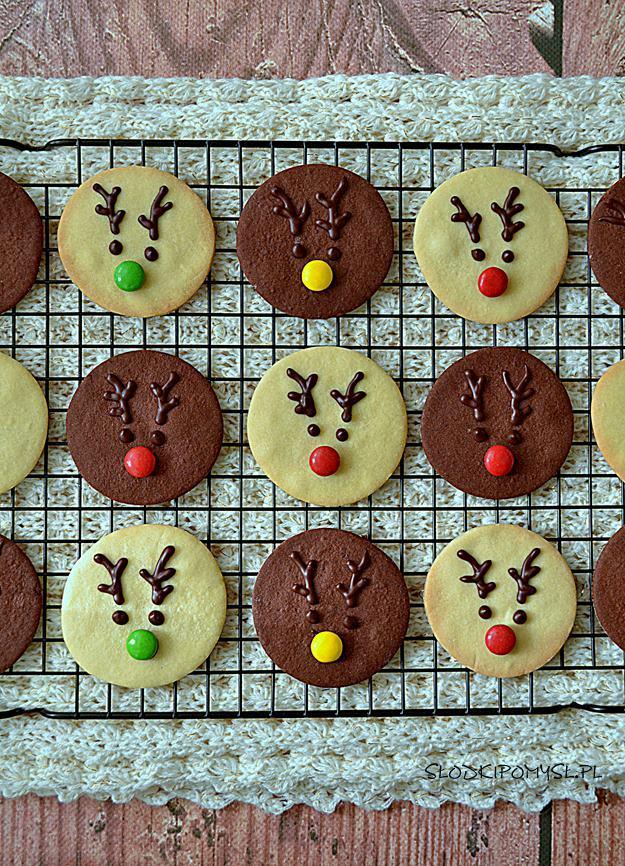 ciasteczka z Rudolfem, ciastka z Rudolfem, ciasteczka renifery, kruche ciasteczka, waniliowe ciastka, kakaowe ciasteczka,