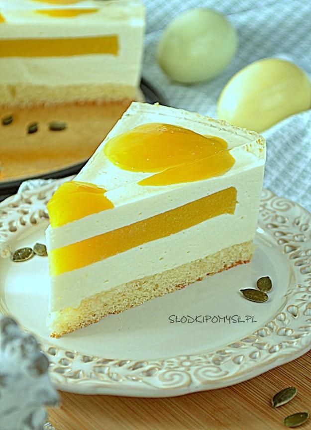 sernik jajko sadzone, ciasto jajko sadzone, sernik z brzoskwiniami, sernik na zimno z brzoskwiniami, żelka brzoskwiniowa,