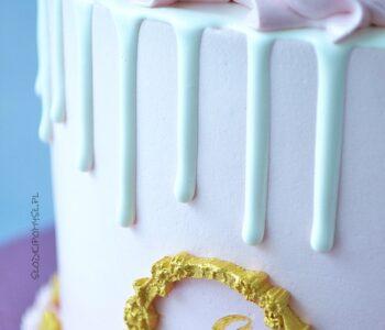biały drip, biała polewa, drip z białej czekolady, biała polewa do tortu, polewa z białej czekolady, drip na tort,