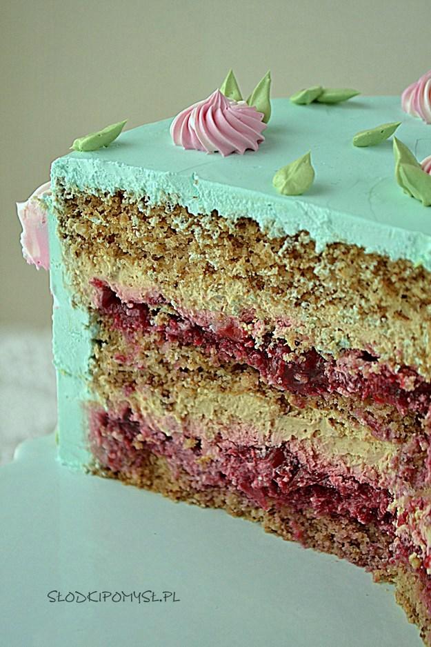 tort orzechowo - kawowy, tort orzechowy z kremem kawowym, tort kawowy, krem z kawą, biszkopt orzechowy,