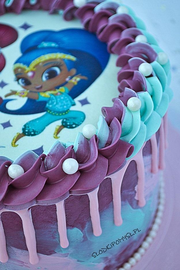 tort z musem malinowym, tort shimmer i shine, wydruk na masie cukrowej, tort z kremem czekoladowym,