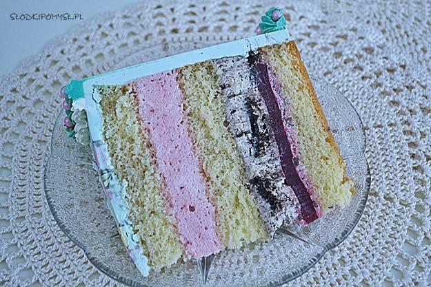 tort z musem truskawkowym, tort dla dzieci, tort z kremem oreo, tort z żelką malinową, malowanie na torcie, tort z opłatkiem,